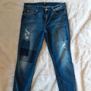 7 for AMK skinny distressed jeans
